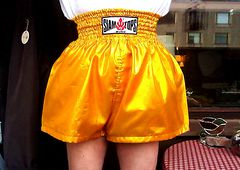 Golden boxing shorts
