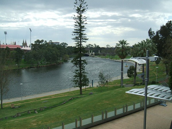 Forecourt of Convention centre on the Torrens River