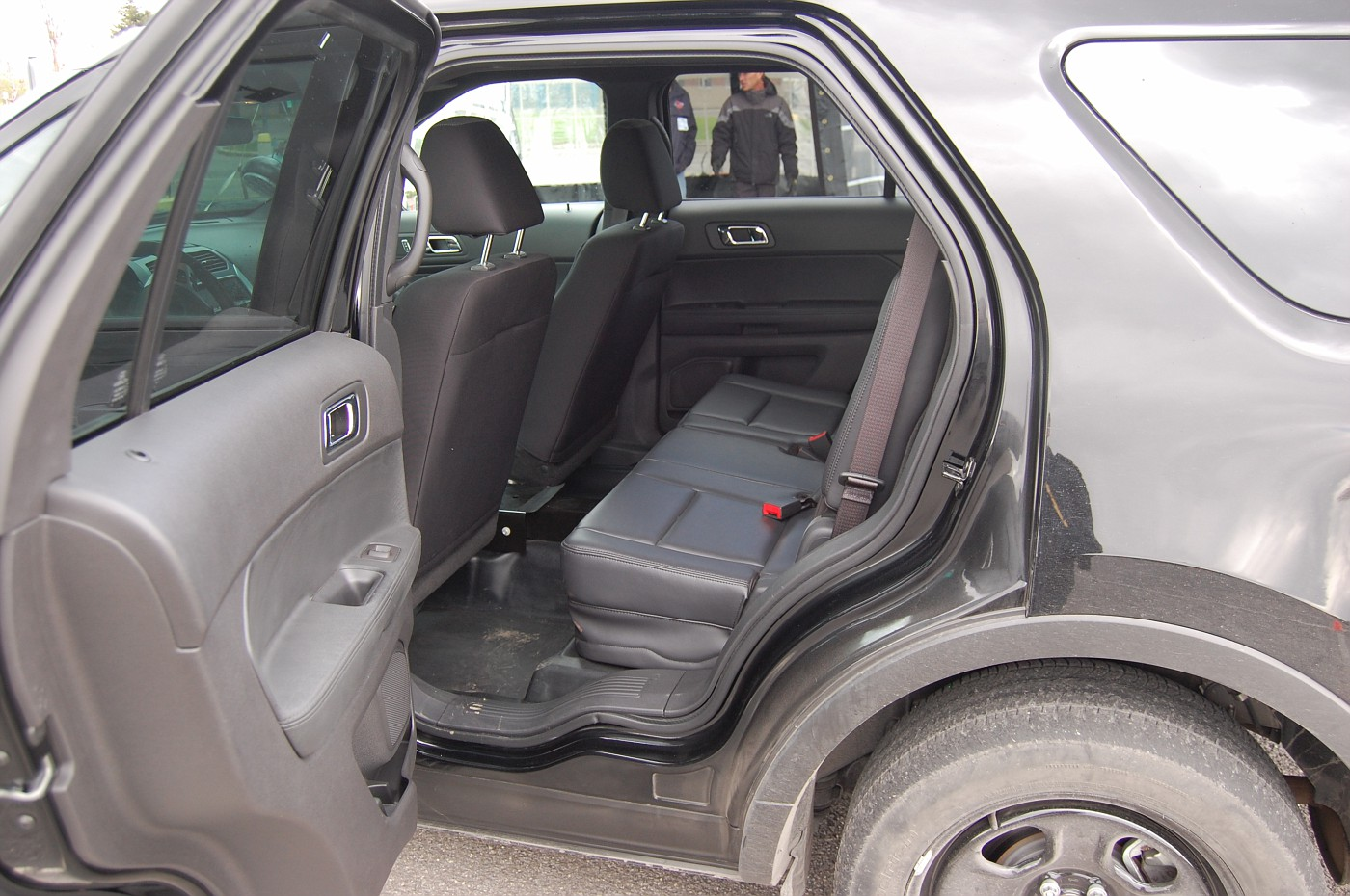 SUV rear door open and interior