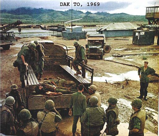 A6-Dead Americans recovered from ambush are brought back to DAK TO