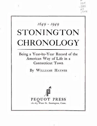 STONINGTON CHRONOLOGY - PAGE 003