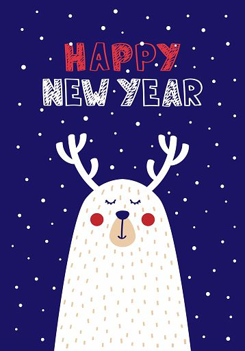 Cute Christmas cards with a picture of a deer in Scandinavian style