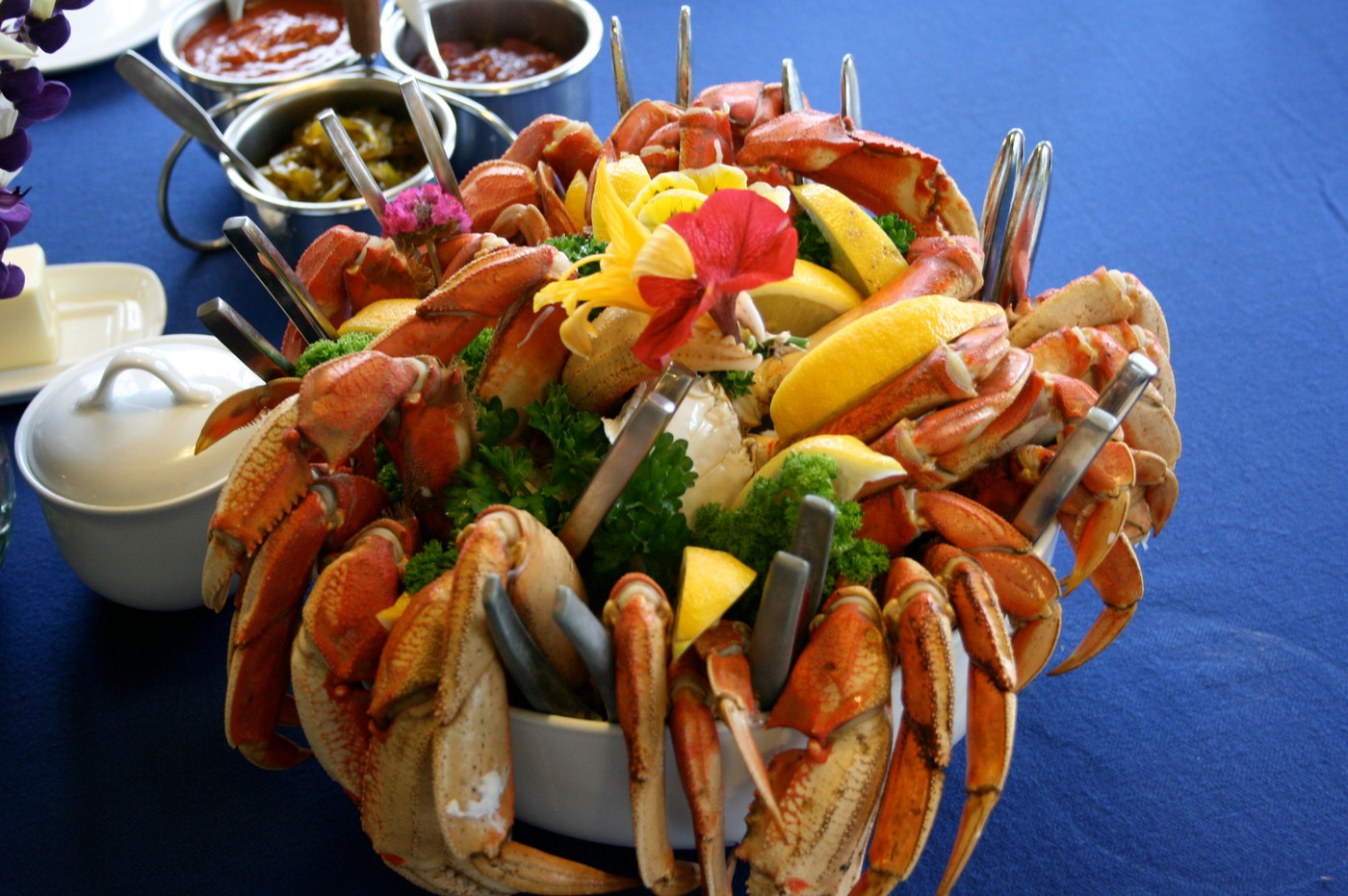 Dungeness Crab is served