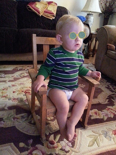 Silas with Crazy Glasses