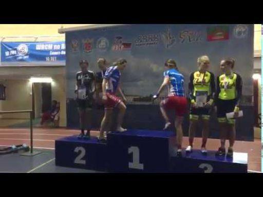 Награждение победителей и призеров Кубка России в гонке-медисон на треке