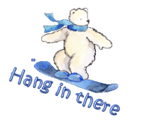Hang in there - SnowboardingPolarBear
