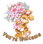 You're Welcome - BunnyWithFlowers