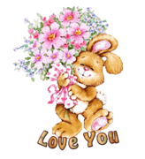 Love You - BunnyWithFlowers