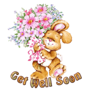 Get Well Soon - BunnyWithFlowers