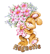 Huguette - BunnyWithFlowers
