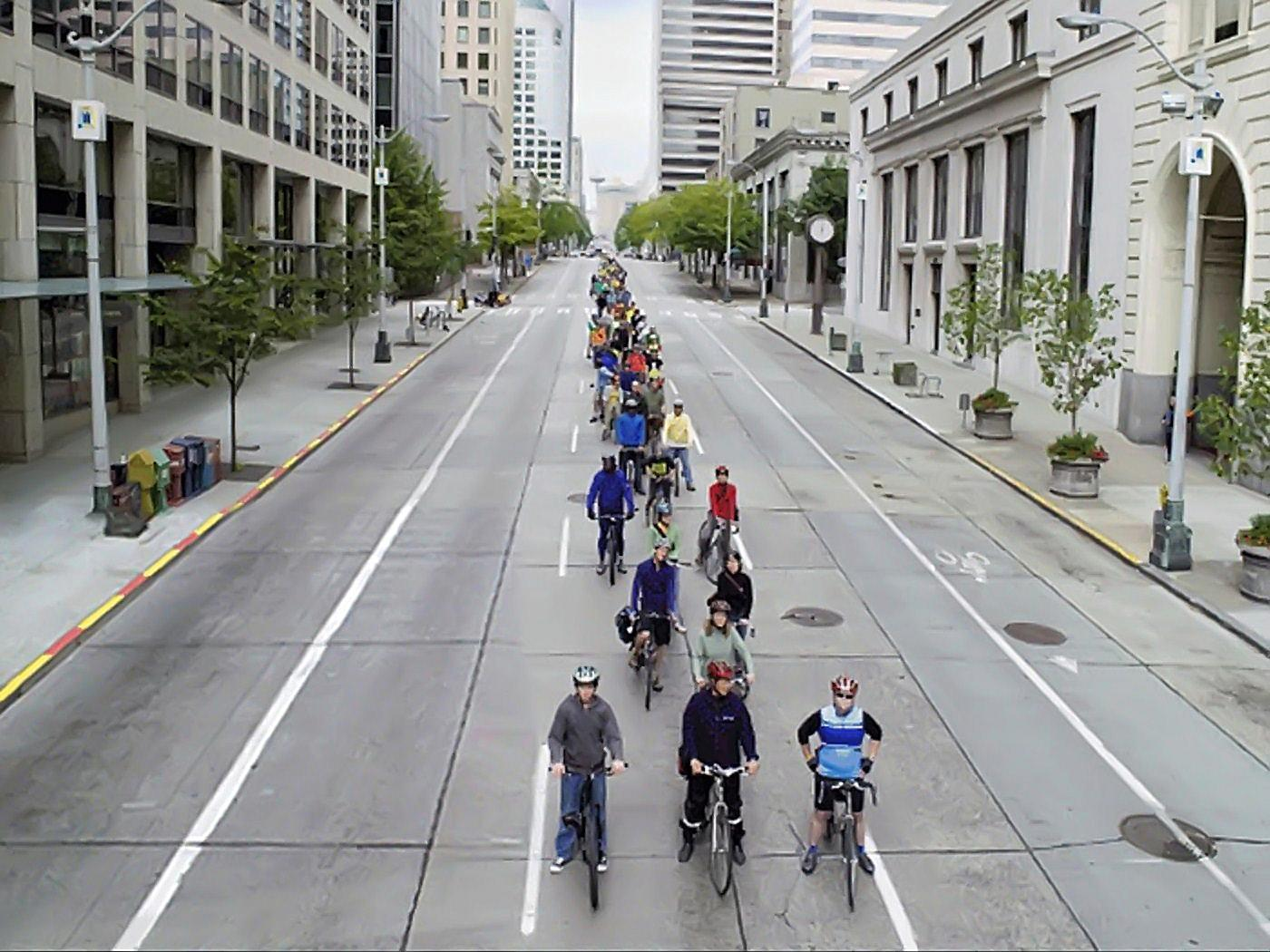 Space requirements of 200 cyclists