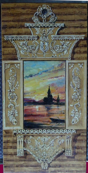 Russian Style Carved Wood Window