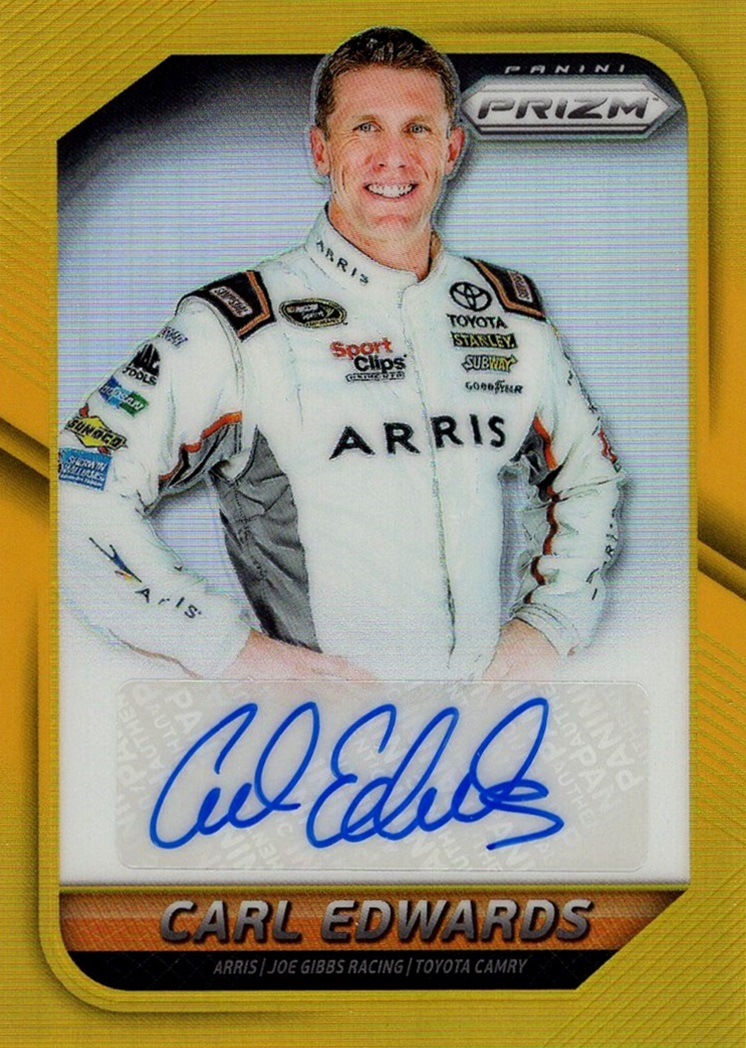 2016 Panini Prizm Driver Signature Gold Prizm Carl Edwards (1)