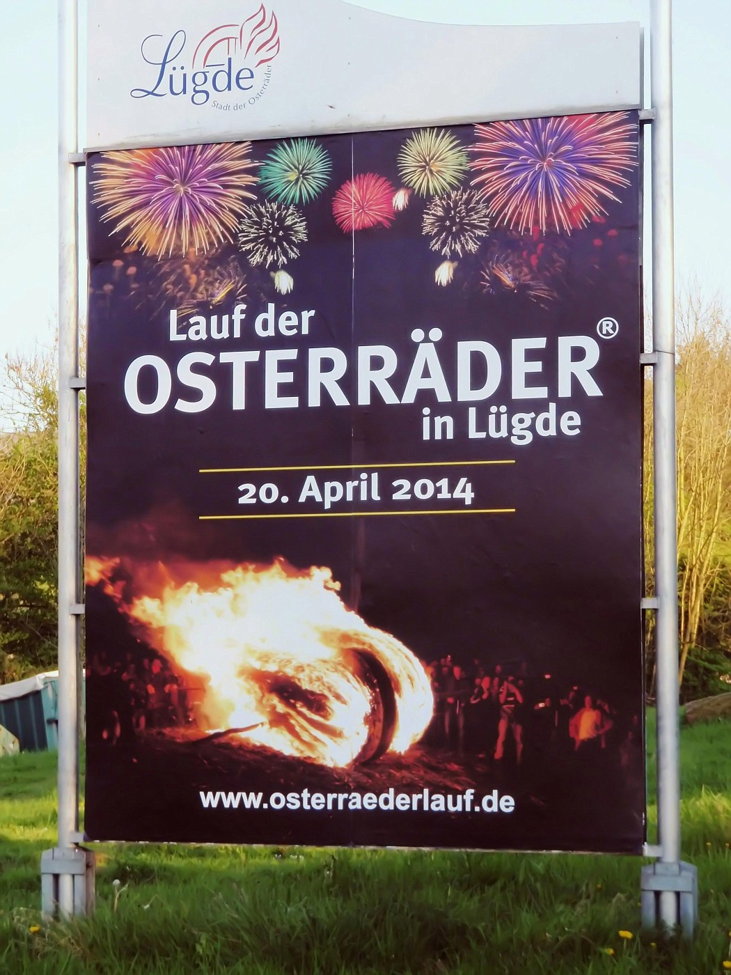 Werbetafel für den Osterräderlauf