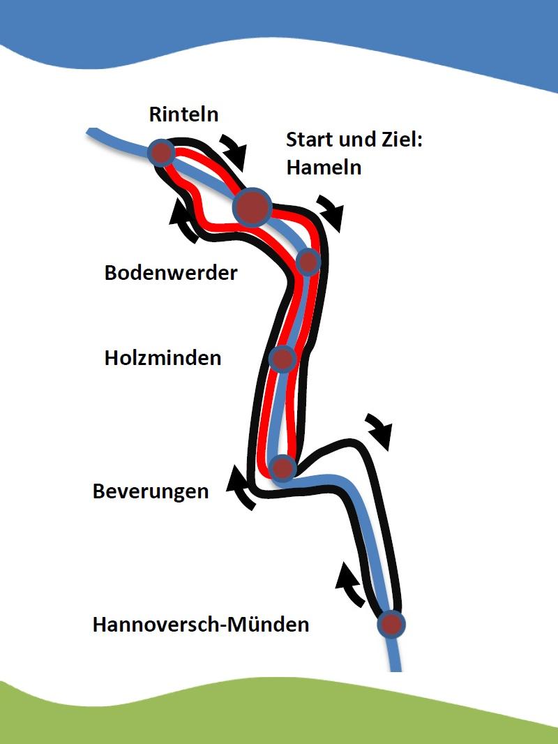 Route der 1. Großen Weserrunde