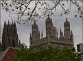 A bit of Yale architecture under a gloomy sky