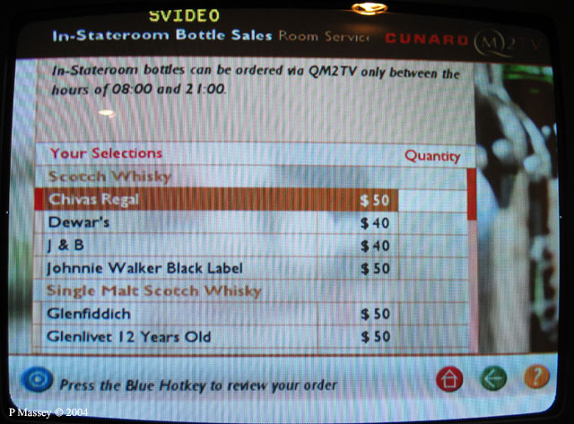 Queen Mary 2 - In Stateroom Bottle Sales - Apr 2004